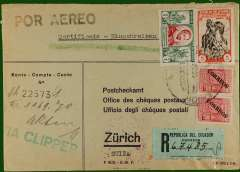 """(Ecuador) Registered (label) printed commercial cover from Quito to Zurich, bs 29/12, via Miami 26/12 and Washington 26/12, franked 6.20S, green st line """"via Clipper"""" hs. Nice routing. Please note, the exact day of posting is illegible."""