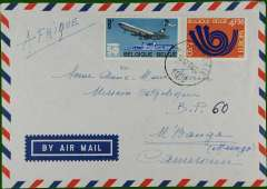 (French Cameroons) Commercial air cover to Mbanga, b/s, from La Dochiere, Belgium, franked 12.50F. Uncommon destination.