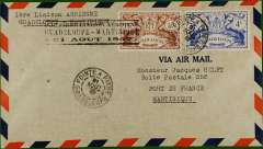 (Guadeloupe) F/F Pointe a Pitre to Fort de France, Martinique, cachet, b/s, Air France.
