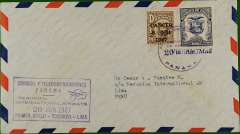 "(Panama) F/F  Panama  to Lima , purple ""Tocumen-Lima"" cachet, b/s, Peruvian International Airways"