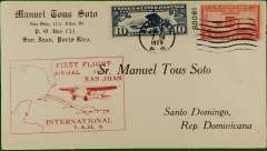 (Puerto Rico) F/F FAM 6, San Juan to Santo Domingo, bs, large red cachet, printed Soto corner cover, Pan Am.