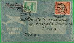 (Chile) Early post war North Trans Atlantic airmail cover to Rome, bs 26/3, franked 5.40P canc Santiago cds, Hotel Crillon printed corner cover (actual day of postage is unclear). ?BSAA.