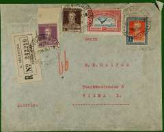 """(Argentina) South Atlantic airmail. Registered (label) imprint etiquette commercial air cover from Buenos Aires to Vienna, bs 22/1, also Wien Flugpost 22/1 and WienTelegraphenamt 22/1 cds's, franked 2.35P. Flight dates suggest air by CGA to Natal, then """"Aviso"""" to Dakar, then air AF/DLH."""