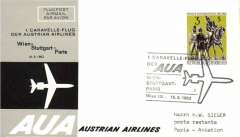 (Austria) First Caravelle flight, Vienna to Paris, cachet, b/s, company cover, Austrian AL.