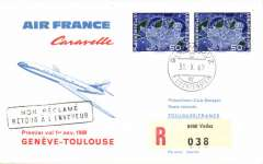 (Liechtenstein) First Caravelle flight, Geneva to Toulouse, b/s, souvenir cover, Air France.