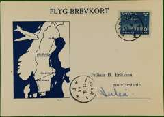 (Sweden) F/F Sundsvall to Lulea, arrival ds on front, souvenir card, ABA.