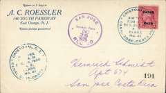 "(Costa Rica) United States Army Service Plane, into San Jose 29/12 via special flight Cristobal to Port Limon, special green circular dispatch cds ""AS Plane #41"", violet circular San Jose 29/12 receiver on front, Roessler corner cover."