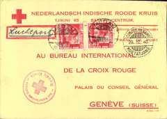 (Netherlands East Indies) World War II censored  printed Ned-Ind.Ruid Kruis (Red Cross) yellow/red cover to Geneva, franked 35c, canc Medan cds,  also fine strike 'CDT-Internkamp/28.12.40/Koetatjane' cds (Commander Internment Camp Koetatjane), ms 'Luchtpos ', red NEI Red Cross hs's front and verso. The camp  Koetajane, near Medan, was where the Dutch interned some 1000+ German male POW's who where working in the Dutch East Indies,