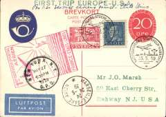 """(Sweden) Sweden acceptance, for the Marseilles to New York leg of the Pan Am F/F FAM 18 Southern Atlantic Route, Stockholm to New Jersey, USA, 29/5 arrival ds on front, via Marseilles 24/5, , 20o PSC with additional 55o, canc """"Nattpostflygning Stockholm-Hannover"""" cds, red flight cachet, par avion etiquette, attractive """"1638 * NYA Sverige* 1938"""" PPC."""