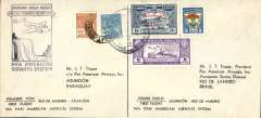 "(Paraguay) Re-establishment of an air service between Brazil and Paraguay, F/F FAM 10, Rio to Asuncion, bs 28/12, franked 1600 reis, and return Asuncion 3/1/38 to Rio, bs 7/1, franked 42.75p, attractive ""waterfall"" flight cachet, printed two way souvenir cover, both legs addressed to JT Trippe. Last flight under FAM 10 canopy, FAM 5 thereafter. Pan Am. Nice item."