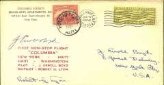 """(United States) Boyd and Lyon non stop flight in """"Colombia"""", New York -Haiti-New York, franked US 8c air cancelled New York Jun 10 cds, also franked  Haiti 10c, cancelled Port au Prince  6 Jul cds, official red six line cachet, 69 carried. AAMC T/O 1178, signed by both pilots J Errol Boyd and Robert G Lyon. Fine item"""