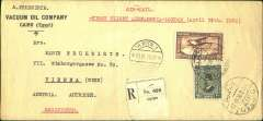(Egypt) Imperial Airways, first acceptance of Egyptian mail for Austria, Cairo-Vienna, 21/4 arrival ds's front and verso, registerd (label) printed Vacuum Oil Company/Cairo (Egypt) corner cover, 21x10cm, franked 27 mm air+20c ordinary, attractive blue/white/black 'Foire Vienne/7-14/Septemre/1930' vignette verso.