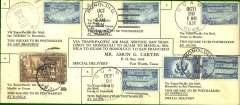 (United States) Round trip public relations VIP flight, San Francisco to Manila and return, to promote Pan Am's first trans Pacific passenger flight on October 21st. Printed Carter souvenir cover, franked, cancelled and backstamped for each outward leg San Francisco-Honolulu, Honolulu-Guam, Guam-Manila, and each return leg Manila-Guam, Guam-Honolulu, Honolulu-San Francisco. Scarce item in superb condition. Single leg unprinted  public relations VIP flight Carter covers are currently retailing at $500USD.