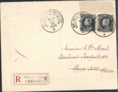 "(Belgium) Brussels Aviation Meeting, flown registered cover addressed to Paris, bs La Poueze 27/6, posted at meeting, franked 2x 50c, each cancelled special dated Expo cachet ""Brussels Aviation/ Brussle-Vliesplein"", also red/white registration label """"Brussels Aviation/ Brussle-Vliesplein/Evere"". Scarce item, even more so with special regn label which Jennekens & Godinas value at 2x non regstered cover."