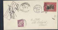 "(Recovered Interrupted Mail) Old Orchard to Paris flight, crashed at Mimizan, cover franked 2c with Old Orchard cancellation of June 13, boxed violet three line ""First French Transatlantic Flight/Assolant-Lefevre-Lotti/Old Orchard-Paris"" cachet, and signed by all three pilots, Comillas 14/6 arrival cds and French 2c postage due stamp, tied by Bourget June 16 arrivl cds, both on the front, Ni 290614. Scarce pioneer trans Atlantic item in superb condition."