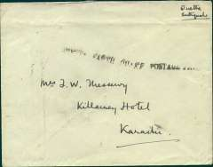 """(India) Quetta Earthquake Emergency Mail, plain unfranked cover from Quetta to Karachi, bs 15/6, also  postmarked verso Quetta 13 June, black st line """"Quetta Earth Quake Postage Free"""" hs, and ms 'Quetta Earthquake"""". On the morning of 31 May 1935 a massive earthquake almost entirely destroyed the city of Quetta killing, some 60,000 people. It also brought the postal services temporarily to a halt. The RAF instituted a skeleton service as quickly as possible, with no charge being made.  Cachets were applied by means of rubber stamps on each unregistered article by the Post Office and the public were also allowed to write ?Earthquake Area Postage Free? on such articles, ref #35-50, Indian Air Mails, Brown J, 1995."""