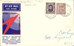 "(Ireland) Dublin to Singapore, bs 19/12, first acceptance Irish mail for Imperial Airways extension of the Indian route to Singapore, oficial red/blue speedbird Smye cover, franked Irish 2 1/2d and 9d, canc London-Holyhead TPO/Night Up cds. Verso a GB 1/2d stamp canc Lee on Solent (Smye's home town) and ms ""Certified flown (under cover) on 1st return flight"" written, and signed, Capt T.A.Smye, 11/1/34. Wingent confirms that the retun flight arrived Croydon 10/1/34, so this item appears to be a genuine 'flown each way' cover, and thus very scarce. The condition is superb."