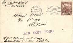 "(Newfoundland) Cotton flight, F/F St John's to Fogo, bs 28/3,  1cx3 Caribou, canc St Johns 10/3, violet st. line ""Air Post"" cachet, ms 'Per Aerial Mail/Via Botwood', AAMC FF6."