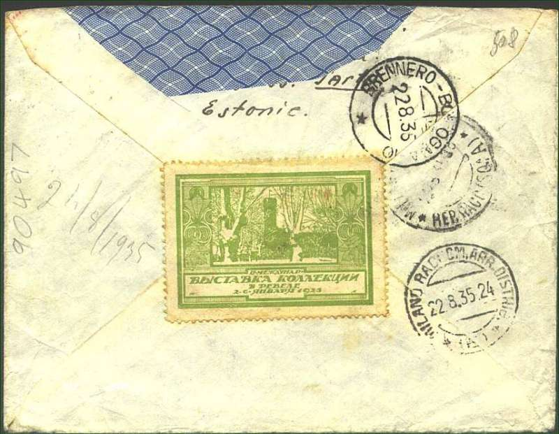 (Estonia) Air cover Estonia-Italy, Narva Vaskal (200km E Tallin) to Milan (2000kmSSW Tallin), bs 22/8, via Brenner Pass, registered (hs) cover franked Arms of Estonia 1sx2, 4s,8s,12s,15s and 25s, large violet triangular plane above 'Aerophil' cachet and green/white 1925 vignette verso. Sender's address has bee excised neatly from flap. A little grubby, but scarce.