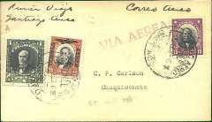 (Chile) Chilean Air Force, inauguration of airmail service to the North, F/F Santiago to Chuquiamata, bs 28/2, plain cover franked  1P + 20c airs and 15c ordinary, canc Correo Aereo/Santiago cds, ms 'Primer Viago/Santiago-Arica', red 'Via Aerea' hs, addressed to C.P.Carlson, (Engineer, Chile Exploration Co,) Chuquiamata. One of 52 covers addressed to Chuquiamata and carried to the nearest airport at Tocopilla. The pilot was Bonitez, who later became commandante of the Chilean Air Force. Francis Field authentication hs verso. Rare item