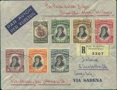 """(Italy) A rare and likely first acceptance of Italian mail for carriage to the Belgian Congo on the Air France/Air Afrique Paris-Marseilles-Algeria-Leopoldville extension to Elisabethville, a Victor Nawratil registered (label) imprint etiquette cover franked  3.70L, 85 1/2c, canc San Marino 16/11 cds, ms's """"Per Posta Aerea Belga/Bruxelles-Marsiglia-Congo"""" and""""Via Marsiglia (Marseille)"""". Carried by the second Air France/Air Afrique  Marseilles-Algeria-Elisabethville flight but, being a Nawratil cover, this is almost certainly a first acceptance from San Marino for the extended route.  Ex Clowes."""