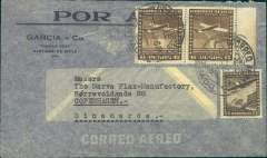 (Chile) Chile to Denmark, flown by LATI, scarce early uncensored WWII imprint etiquette company airmail cover, Santiago to Copenhagen, franked 12P 60c, canc Santiago/Correo Aereo 17 Feb 40 cds. This cover is correctly rated for Chile to Europe by LATI (see Boyle p656). Flown from Santiago through the Andes (Mendoza-Buenos Aires-Montevideo) to Rםo de Janeiro by CONDOR, then all the way from Rio to Rome by LATI, thus avoiding the British censorship on the Pan Am North Atlantic service. No Bermuda censor and franking confirms not flown by PAA. Carried by Syndicato Condor to Rio, then LATI to Rome. No German or Danish censor because Denmark was not invaded until 9/4/40 (Boyle p337).