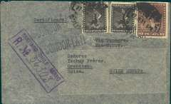 """(Chile) Chile to Switzerland, flown by LATI, scarce uncensored WWII registered (hs) airmail cover, Santiago to Grenchen, bs 19/8, franked 11P 20c, canc Santiago/Correo Aereo 17 Jul 41 cds, black 'Condor-LATI' x2  directional hs's, typed """"Via Panagra/Via USA"""" which has been crossed out. In spite of intended franking for Pan Am (LATI should be 12P 50c + registration fee, see Beith p41), we believe that this item was flown from Santiago through the Andes (Mendoza-Buenos Aires-Montevideo) to Rםo de Janeiro by CONDOR, then all the way from Rio to Rome by LATI, thus avoiding the British censorship on the Pan Am North Atlantic service because (1) no Bermuda censor (PAA only bypassed the UK censor in Bermuda between March 40-Sep 40, see Boyle), (2) no German censorship - because LATI mail from Italy entered Switzerland via Chiasso and did not pass through Germany (see Boyle). There is no Swiss censor because Switzerland did not censor incoming or outgoing mail during WWII.  A fine item which illustrates both the fascination"""