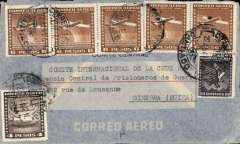 (Chile) Chile to Switzerland, interesting and rare TRIPLE rated uncensored WWII registered (hs) airmail cover likely flown by LATI, Santiago to Geneva, addressed to the International Red Cross, Central Agency for Prisoners of War, franked 34P 60c, canc Santiago/Correo Aereo 22 Jul 41 cds. This cover is triple rated for LATI to Europe (see Beith p41, Boyle p656). Flown from Santiago through the Andes (Mendoza-Buenos Aires-Montevideo) to Rםo de Janeiro by CONDOR, then all the way from Rio to Rome by LATI, thus avoiding the British censorship on the Pan Am North Atlantic service. No Bermuda censor and very high franking confirms not flown by PAA. Switzerland did not censor incoming or outgoing mail during WWII, and no German censor because mail from Italy entered Switzerland via Chiasso and did not pass through Germany (see Boyle).  Nice item.