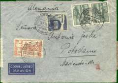 (Bolivia) Bolivia to Germany, flown by LATI, rare double rate censored WWII airmail cover, La Paz to Potsdam, via Frankfurt ,18/9 transit cds on front, franked 21B 30c, canc Servicio Aereo/Bolivia La Paz/ 1 Sep 41 cds, ms 'Alemania', sealed black/white OKW censor seal, tied red code e (Frankfurt) censor mark. The postage indicates a double rate LATI franking - Beith's cover was franked 14B 10c (see page 25). Carried by LAB Condor to Rio, then by LATI all the way to Rome thus avoiding the British censorship on the Pan Am North Atlantic service. Slight rough opening visible from verso only, does not detract. Flown by pilot Pastore.