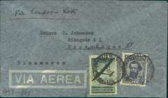 (Argentina) Argentina to Denmark, flown by LATI, scarce censored WWII airmail cover, Buenos Aires to Copenhagen, franked 1P 20c, canc Buenos Aires, 11 Dec 40 cds, sealed German black/white OKW censor seal, code e (Frankfurt). Under franked by 20c, the correct rated for LATI to Europe was 0.20P basic + 1.25P air fee, see Beith p41. No Bermuda censor and franking confirms not flown by Pan Am. Carried by Syndicato Condor to Rio, then by LATI all the way to Rome thus avoiding the British censorship on the Pan Am North Atlantic service. No Danish censor because Denmark was under German occupation at that time.