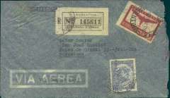 (Argentina) Argentina to Spain, flown by LATI, a scarce censored WWII registered (label) airmail cover, Buenos Aires to Barcelona, franked 1P 15c, canc Buenos Aires, 14 Nov 40 cds, typed 'Via Condor LATI', green boxed Spanish Barcelona Censurado censor mark verso. Air France stopped its South Atlantic service in July 1940. Pan Am Southern trans Atlantic flights only bypassed the UK Bermuda censor between March and September 1940, so  not flown by Pan Am. Carried by Syndicato Condor to Rio, then by LATI all the way to Seville thus avoiding the British censorship on the Pan Am North Atlantic service. The LATI rate to Spain likely to have been less than that to Germany/Italy (1P 45c) since Rome is 1000 miles beyond Seville, and Germany some 500-700 miles beyond that. But, at present, there are too few Argentina-Spain covers known, to be certain. Slight rough opening along rh edge. A truly scarce LATI item.