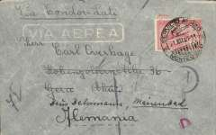 """(Uruguay) Uruguay to Germany, scarce LATI censored WWII commercial airmail cover, Montevideo to Marienbad, franked 75c, canc Servcio Aereo/Montevideo 21 May 41, ms """"Via Condor-LATI"""", black German """"A"""" in circle censor mark on front indicating cover examined but not opened. Flown Montevideo-Buenos Aires-Rio de Janero by Condor, then by LATI all the way to Rome, thus avoiding the British censorship on the Pan Am North Atlantic service.  The Air France South Atlantic service ceased in July 1940. A scarce cover which also illustrates the importance of the 'date of dispatch' in helping to decide if Air France or LATI is the carrier of 75c franked Uruguay-Europe airmail. Small flap tear verso."""