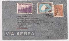 (Argentina) Argentina to Great Britain, flown by LATI, single rate uncensored early WWII grey airmail cover flown by LATI, Buenos Aires to London, franked 1P 45c, canc 'Via Aerea/Buenos Aires' cds. Correctly rated for LATI to Europe (see Beith p41). Carried by Syndicato Condor to Rio, then by LATI all the way to Seville/Rome thus avoiding the British censorship on the Pan Am North Atlantic service.