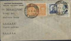 "(Brazil) Brazil to Switzerland, scarce LATI uncensored WWII printed black/grey Backhauser company corner cover, Sao Paulo to Lugarno, franked 5800R, canc Sao Paulo 24/10/40 cds, typed ""Per Ala Littoria"". This cover is over franked by 400R for LATI to Europe, the correct rate is 5400 (see Beith p41). Carried all the way from Rio de Janeiro to Rome by LATI, thus avoiding the British censorship on the Pan Am North Atlantic service. No German censor because mail from Italy entered Switzerland via Chiasso and did not pass through Germany (see Boyle)."
