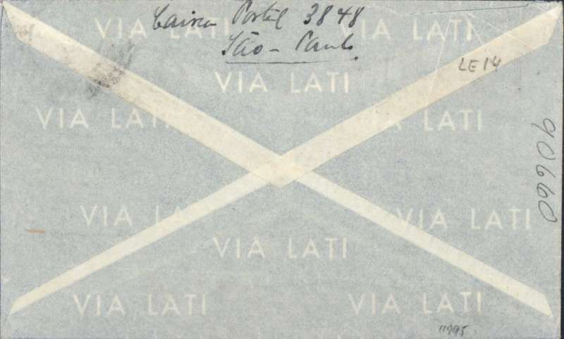 "(Brazil) Brazil to Germany, flown by LATI, censored WWII pale grey/light blue/dark blue LATI publicity envelope, 147x 86mm, central white imprint Gulls Wing and inscribed ""Via LATI"" and ""LATI Linhas Aereas Transcontinentaes Italianas S.A."", Sao Paulo to Koln, franked 5400R, canc Correos Aereo/Sao Paulo ?/7/41cds, blue German ""Ad"" in circle censor mark on front indicating cover examined in Munich but not opened, also 15 in circle additional German censor mark. Correctly rated for Brazil to Europe by LATI (5000R air fee + 400R basic, see Beith p41)."