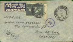 "(Brazil)  Rare censored LATI WWII airmail cover, Sao Paul to Naples, bs 15/11/41, franked 5400R, canc Correo Aereo/Sao Paul, 30/10/41 cds, attractive three line blue/white ""Por Via Aerea/Por Avion/Via LATI"" gull wing etiquette, sealed scarce Naples censor tape ""Verificato per Censura/NP"", also numerals in circle Italian censor mark verso. Correctly rated for Brazil to Europe by LATI (5000R air fee + 400R basic, see Beith p41). Carried all the way from Rio de Janero to Rome by LATI, thus avoiding the British censorship on the Pan Am North Atlantic service. Inward Italian censorship markings are quite rare (Beith p48)."