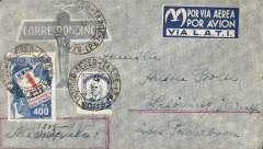 "(Brazil) Brazil to Germany, flown by LATI, censored WWII printed company airmail cover, San Antonio to Westfalia, franked 5400R, canc San Antonio/Correo Aereo, 10/2/41 cds, attractive three lline blue/white ""Por Via Aerea/Por Avion/Via LATI"" gull wing etiquette, sealed sealed black/white German OKW censor tape, code e Frankfurt. Correctly rated for Brazil to Europe by LATI (5000R air fee + 400R basic, see Beith p41)."