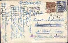 (Brazil) Brazil to Germany, flown by LATI, rare censored  WWII PPC, La Catrena to Varel, franked 2500R, canc 'La Catrena Aereo/18/12/40' cds, censored black German six line OKW roller censor mark code d Munich, also boxed 1542 additional German censor. Correctly rated for 1940 Christmas concessionary tariff to Europe by LATI, see Beith p41. Carried all the way from Rio de Janeiro to Rome by LATI, thus avoiding the British censorship on the Pan Am North Atlantic service. Flown by pilot Pavia.