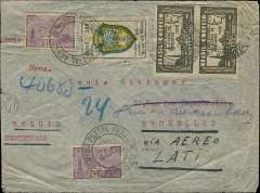 (Brazil) Brazil to Belgium, flown by LATI, a rare uncensored WWII registered airmail cover, Rio to Brussels, via Milan 7/5/40 transit cds, franked 6700R, canc Correo Aereo/Rio 2/5/40 cds, ms 'Via Aereo LATI'. Correctly rated for Brazil registered mail to Europe by LATI (5000R air fee + 1300R registration + 400R basic, see Beith p41). Carried all the way from Rio de Janeiro to Rome by LATI, thus avoiding the British censorship on the Pan Am North Atlantic service. It has no Belgian, French or German censorship because it arrived in Belgium just before Germany invaded on 11/5/40. During the German occupation Belgian censorship offices only operated for a few days before transferring to France until August 1940, when German censorship offices took over.