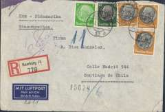 "(Germany) Germany to Chile, flown by LATI, double rate registered (label) censored WWII airmail etiquette cover, Hamburg to Santiago, bs 19/9/40, franked 355rpf, canc Hamburg/31/8/40 cds, typed "" Roma-Sudamerika"", ms ""6"", sealed purple/brown German OKW censor tape, code e Frankfurt. Correctly rated for 6g Germany to Chile by LATI, 2x150 rpf/5g air fee + 25rpf/20g surface + 30rfp registration (see Beith p39).  Flown DLH/Ala Littoria to Rome, Rome to Rio de Janeiro by LATI, then through the Andes (Mendoza-Buenos Aires) to Santiago by CONDOR, thus avoiding British censorship on the Pan Am North Atlantic service. Dates suggest flown from Europe on 10/8/43 by pilot Baldini in Savoia Marchetti 83 I-AZUR. Nice example of a 2x normal rate. Slight rough opening top left hand corner."