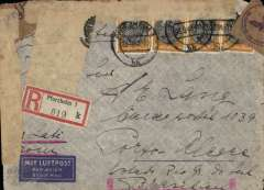 "(Germany) Germany to Brazil, flown by LATI, scarce 7x rated dual censored WWII registered (label) airmail cover, Pforzheim to Porto Alegre, bs 22/4/40, franked 9x100rpf, 25rpf (corner damage) and 20rpf, canc Pforzheim/23/9/40 cds, ms ""Via LATI"", flap sealed with purple/brown German OKW censor tape, code e Frankfurt, also sealed on two sides, front and verso, with Sao Paulo black/white 'S.P./Censura/O Censor' federal inter-war censor tape with crown, applied in Porto Alegre. 10rpf under franked for  7x rate Germany to Brazil by LATI ( 7x125 rpf/5g air fee + 2x25rpf/20g surface + 30rfp registration, see Beith p39).  Flown DLH/Ala Littoria to Rome, Rome to Rio de Janeiro by LATI, thus avoiding the British censorship on the Pan Am North Atlantic service. An uncommon and interesting item."