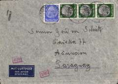 """(Germany) LATI ,Germany to Paraguay from Germany,  censored WWII airmail etiquette cover, Groesfeld to Asuncion, bs 30/4/41, franked 175rpf, canc Groesfeld 1/4/41 cds, ms """"5g"""", sealed black/white German OKW censor tape, no code, also additional German censor marks, boxes with numbers on front. Correctly rated for 5g Germany to Paraguay by LATI, 150 rpf/5g air fee + 25rpf/20g surface (see Beith p39).  Flown DLH/Ala Littoria to Rome, Rome to Rio de Janero by LATI, then likely Pan Am to Asuncion, thus avoiding the British censorship on the Pan Am North Atlantic service."""