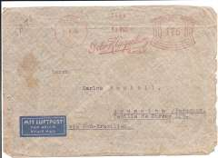 "(Germany) Germany to Paraguay, flown by LATI, censored WWII airmail imprint etiquette cover, Detmold to Asuncion, b/s, uncommon red 175rpf meter frank Detmold 17/9/40, typed ""Via Rom-Brasilien"", ms ""LATI"", sealed black/white German OKW censor tape, code e Frankfurt. Correctly rated for Germany to Paraguay by LATI, 150 rpf/5g air fee + 25rpf/20g surface (see Beith p39). Flown DLH/Ala Littoria to Rome, Rome to Rio de Janero by LATI, then likely Pan Am to Asuncion, thus avoiding the British censorship on the Pan Am North Atlantic service."