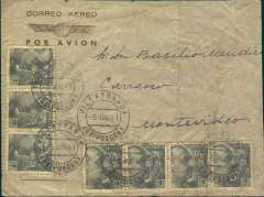 "(Spain) Spain to Uruguay, flown by LATI, a scarce censored WWII grey/pale brown airmail envelope with winged logo, Villa Franca to Montevideo, b/s 15/7/41, franked 7P canc Aracina/Huelva 4/3/41 cds Spanish purple boxed ""Censura Gubernativa/Madrid"" censor mark on departure. Military censorship of the mails was still the rule in Spain for some years after the end of the Civil War. Correctly rated for carriage by LATI from Spain to South America. Carried by LATI  all the way from Rome to Buenos Aires thus avoiding British censorship on the Pan Am North Atlantic service (the LATI service was extended from Rio de Janero to BA in July 1941), and by Condor or Panagra to Montevideo.  A scarce LATI item,"