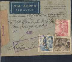 "(Spain) LATI, Spain to Argentina, single rate censored WWII uncommon printed ""Como encargado del registro certifico.Que este pliago contiene solamente correspondencia oficial"" envelope Aracina to Santa Fe, bs 11/3, also 664 in circle postman's arrival mark, franked 6P 30c canc Aracina/Huelva 4/3/41 cds, via Seville, black hexagonal Correo Aerea/Seville/6/3/41ds verso, blue boxed ""Por Via Aerea"", blue boxed ""Censura Gubernativa/(Sevilla)/Censurado"" censor mark on front, sealed purple/brown ""Censura Gubernativa/Sevilla""censor tape. Military censorship of the mails was still the rule in Spain for some years after the end of the Civil War. Correctly rated for 5g Spain to Argentina by LATI, 6P/5g air fee + 30c/20g surface.  Carried by LATI  all the way from Rome to Rio de Janero, then Syndicato Condor to Buenos Aires, thus avoiding the British censorship on the Pan Am North Atlantic service."