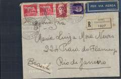 (Italy) Italy to Brazil, flown by LATI, uncensored registered (label) airmail cover, Rome to Rio de Janero, bs 6/7/40, franked 12.50L canc Roma Centro 28/6/40 cds. Correctly rated for 5g registered Italy to Brazil by LATI, 9.75L/5g air fee + 1.25L/20g surface + 1.5L registration, see Beith p39. Carried by LATI  all the way from Rome to Rio de Janero de Janero, thus avoiding the British censorship on the Pan Am North Atlantic service. Italian censorship markings on LATI covers are quite rare (Beith p48).  Scarce item.