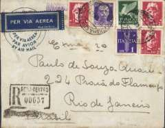 (Italy) Italy to Brazil, flown by LATI, uncensored registered (hs) airmail cover, Rome to Rio de Janero, bs 7/10/40, franked 12.50L canc Roma Centro 26/9/40 cds. Correctly rated for 5g registered Italy to Brazil by LATI, 9.75L/5g air fee + 1.25L/20g surface + 1.5L registration, see Beith p39. Carried by LATI all the way from Rome to Rio de Janero de Janero, thus avoiding the British censorship on the Pan Am North Atlantic service.  Italian censorship markings on LATI covers are quite rare (Beith p48). Scarce item, one of only four commercial covers from Italy to Brazil observed in a review of 183 westbound LATI dispatches.