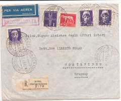 """(Italy) Italy to Uruguay, flown by LATI, scarce double rate uncensored registered (label) Consular cover, Rome to Montevideo, bs 6/4/41, franked at double rate 26.50L canc Roma Centro 20/3/41 cds, fine and attractive blue/white circular crested """"Legacion Del Uruguay Roma"""" vignette verso. This cover is 25c over the correct rate for 10-14g registered Italy to Uruguay by LATI, 2x 11.75L/5g air fee + 1.25L/20g surface + 1.5L registration, see Beith p39. Carried by LATI  all the way from Rome to Rio de Janero, Syndicato Condor to BA, and Condor or Panagra to Montevideo, thus avoiding British censorship on the Pan Am North Atlantic service. Italian censorship markings on LATI covers are quite rare (Beith p48), but this cover is also likely to have escaped censorship because of its Consular status.  A scarce and interesting LATI item."""