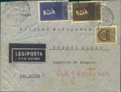 (Hungary) Hungary to Argentina, flown by LATI, scarce double rate uncensored airmail consular cover, Budapest to Buenos Aires, bs 7/11/41, franked 7P 10c, canc Legiposta/Budapest 15/10/41 cds. Carried by Ala Littoria to Rome, then LATI from Rome to Rio de Janero, then Syndicato Condor to Buenos Aires, thus avoiding British censorship on the Pan Am North Atlantic service. Hungarian censorship was applied selectively from June 1940, then to all mail from June 1941. Mail from Hungary has been recorded as received in US without censorship, as late as June 41 ( Boyle p474). Transit mail through Italy, particularly if carried by an Italian airline en route to a neutral country was not always censored. Information on LATI rates to South America is currently unavailble.