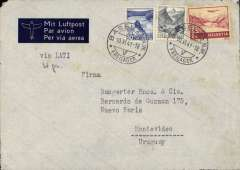 "(Switzerland) Switzerland to Uruguay, flown by LATI, a rare uncensored WWII imprint etiquette airmail cover, Basel to Montevideo, bs 8/7/41, franked 2F70c canc Basel 10/6/41 cds, typed ""Via LATI"", ms '4g'. Correctly franked for single rate Switzerland to Uruguay by LATI, 2F40c/5g air fee (rate raised from 2F10c/5g on 1st December 1940) + 30c/20g basic, see Beith p40. Carried by rail to Rome via Chiasso, then by LATI  all the way from Rome to Rio de Janero, then Syndicato Condor to Buenos Aires, and Condor or Panagra to Montevideo, thus avoiding British censorship on the Pan Am North Atlantic service. No German censor because mail from Switzerland entered Italy via Chiasso and did not pass through Germany (see Boyle)."